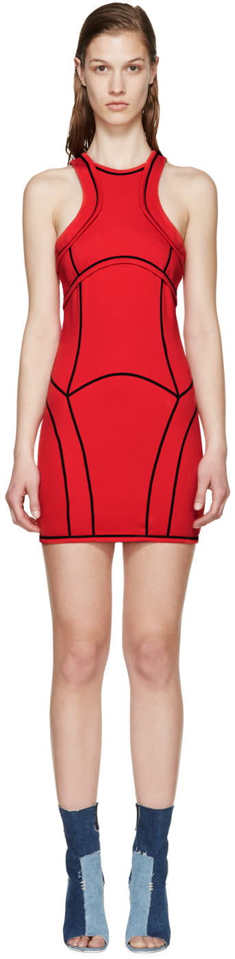 Dsquared2 Red Knit Curved Panel Dress