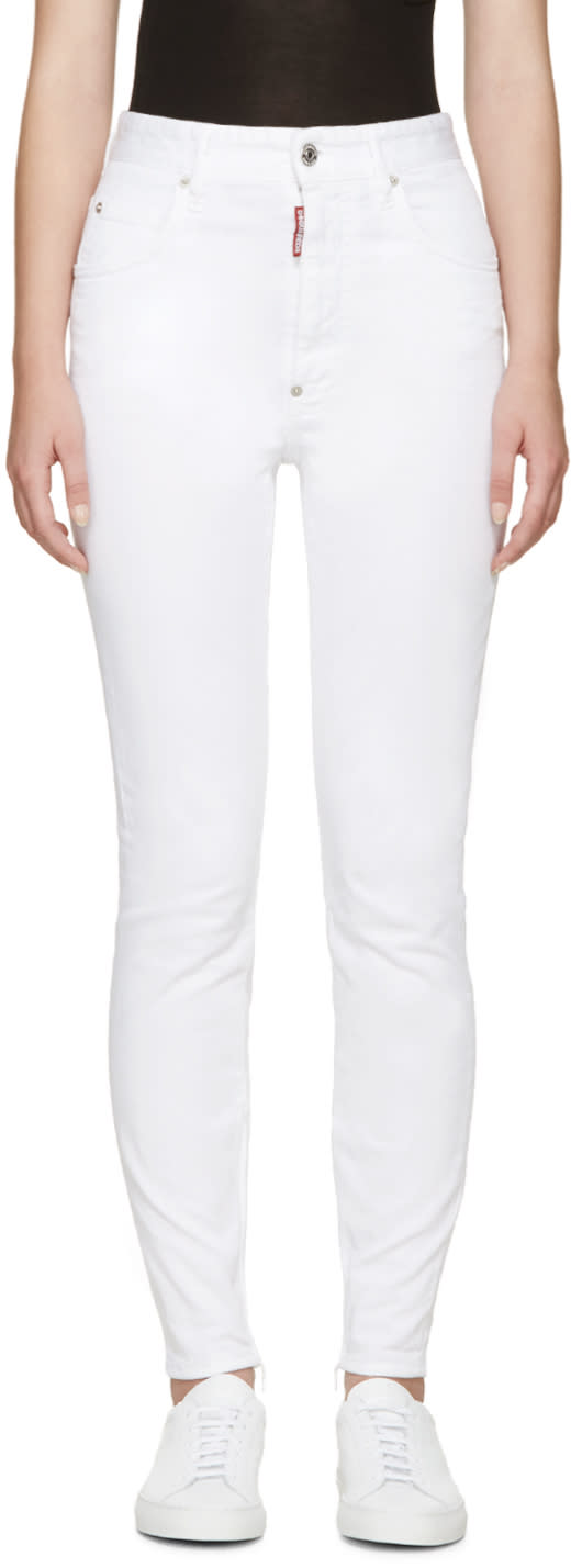 Dsquared2 White High-rise Twiggy Jeans