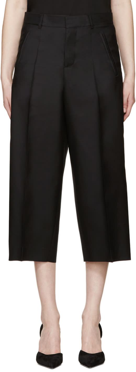 Dsquared2 Black Cropped Wide-leg Trousers