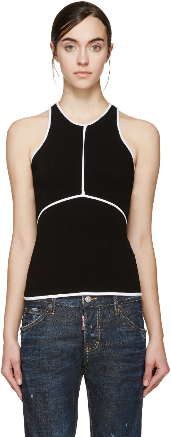 Image of Dsquared2 Black and White Racerback Top