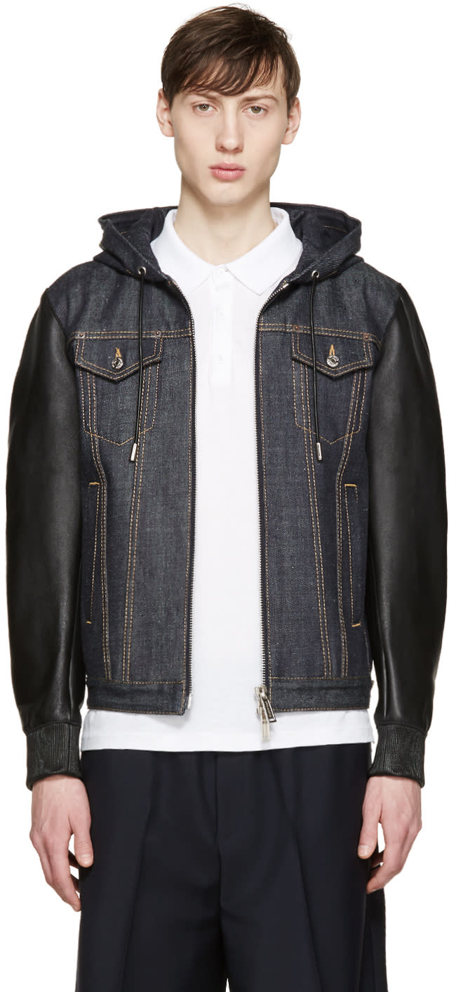 Dsquared2 Navy Denim and Leather Jacket