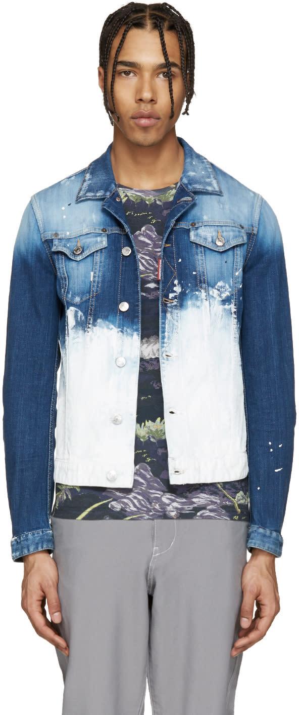 Dsquared2 Blue Painted Denim Jacket