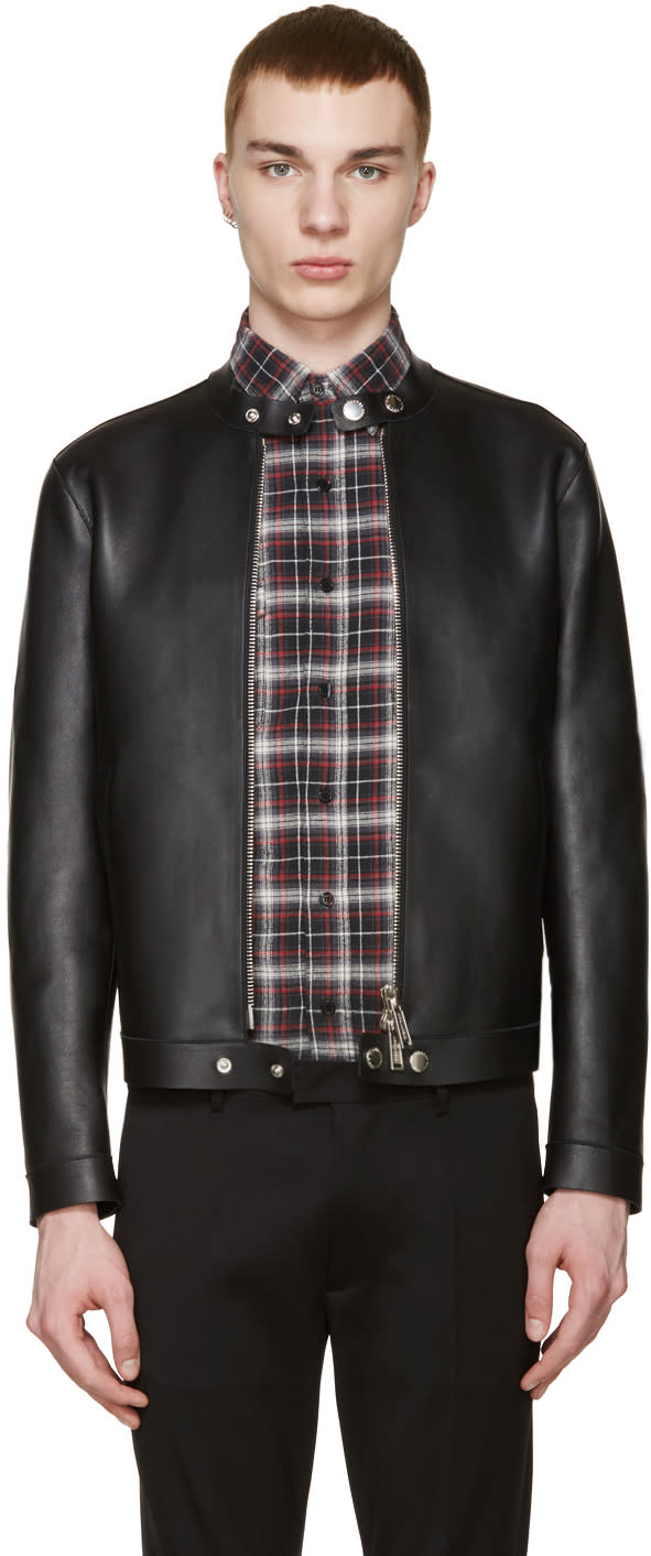 Dsquared2 Black Leather Simple Biker Jacket