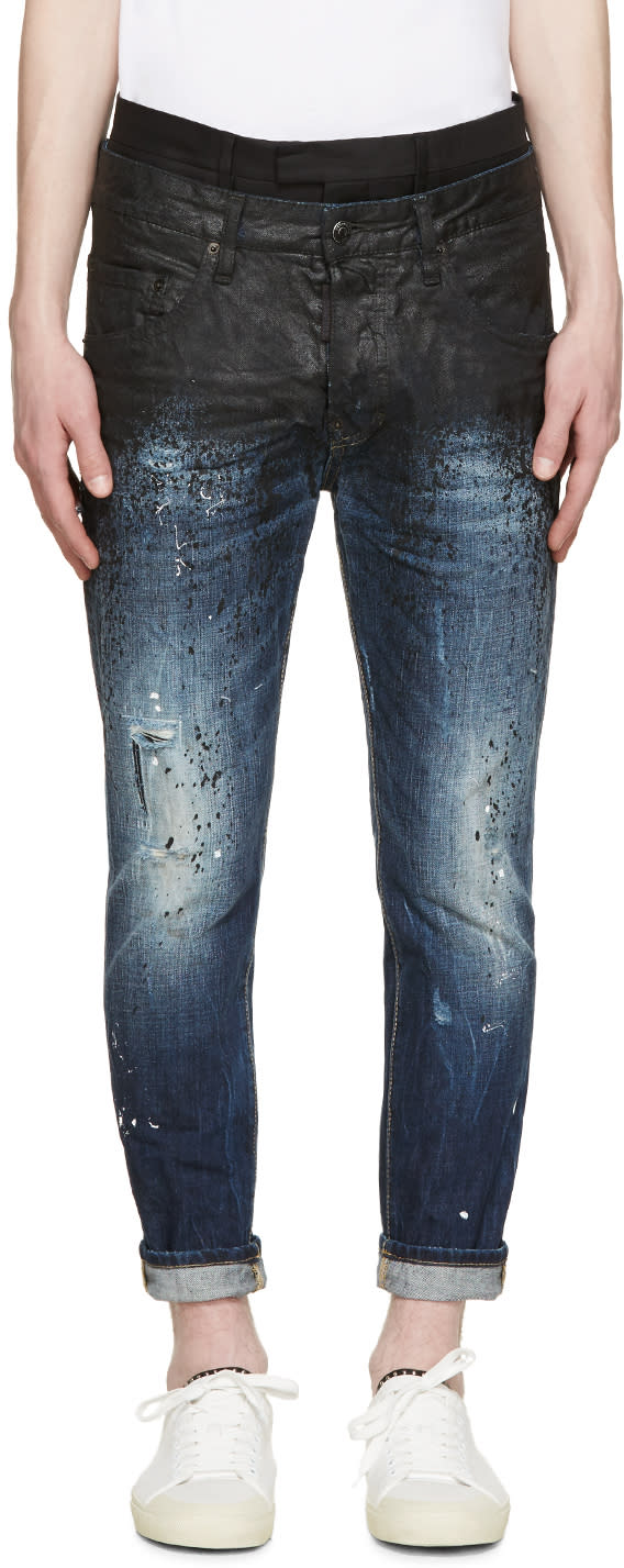 Dsquared2 Blue Painted Layered Jeans