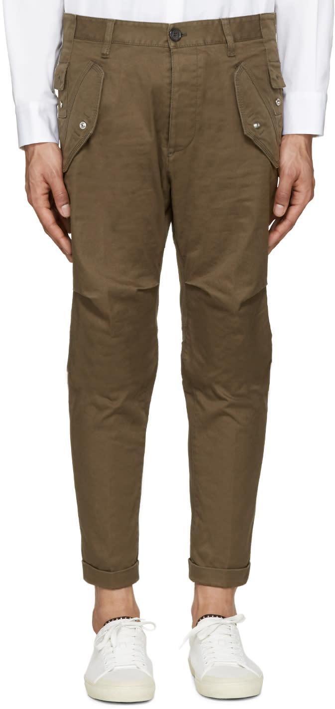 Dsquared2 Khaki Cotton Cargo Trousers
