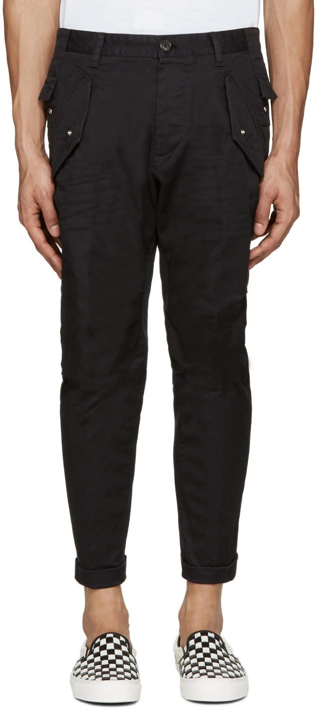Dsquared2 Black Cotton Cargo Pants