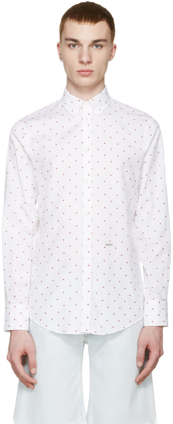 Dsquared2 White Maple Leaf Shirt