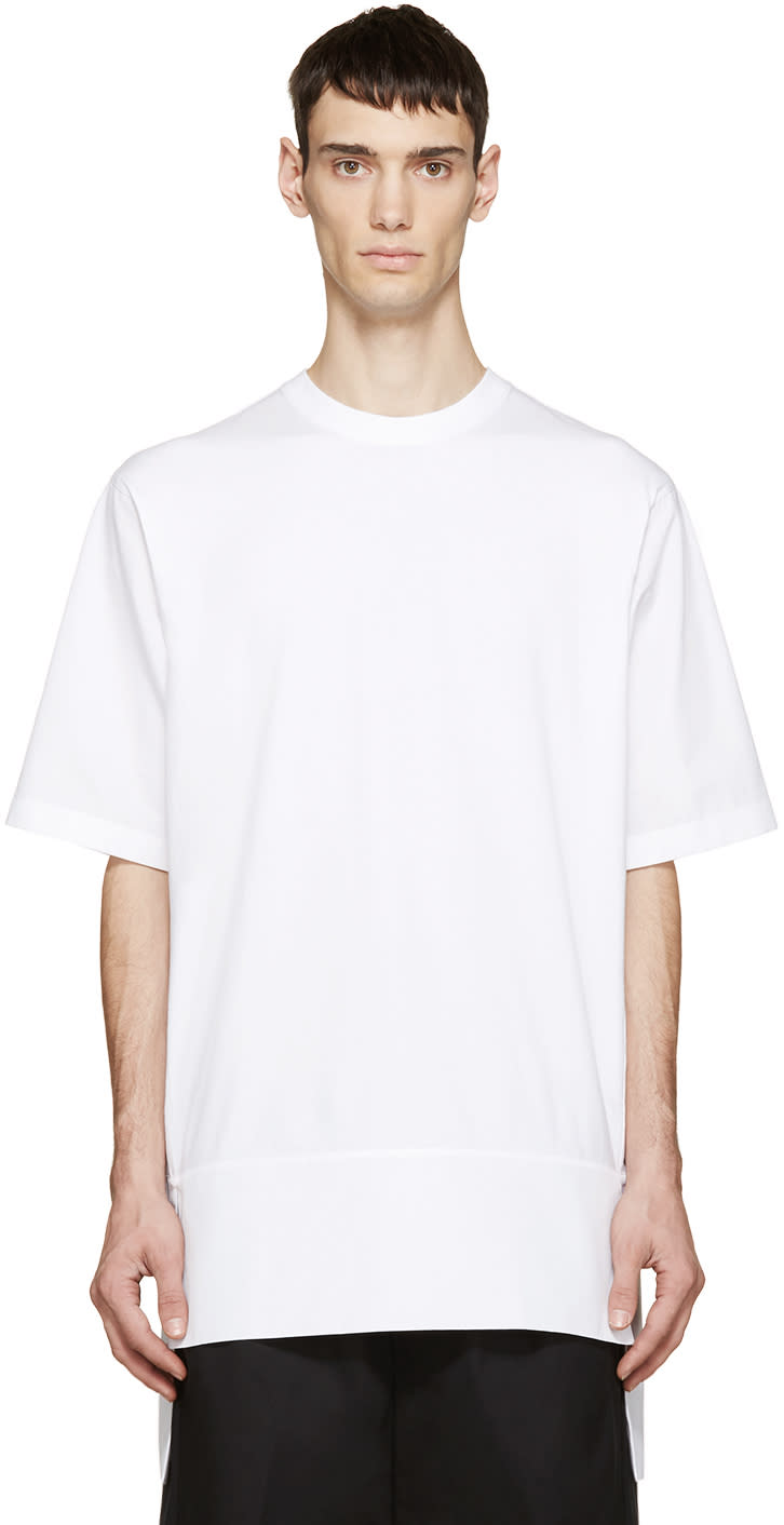 Dsquared2 White Jersey and Poplin T-shirt