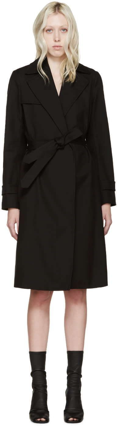 Helmut Lang Black Poplin Trench Coat