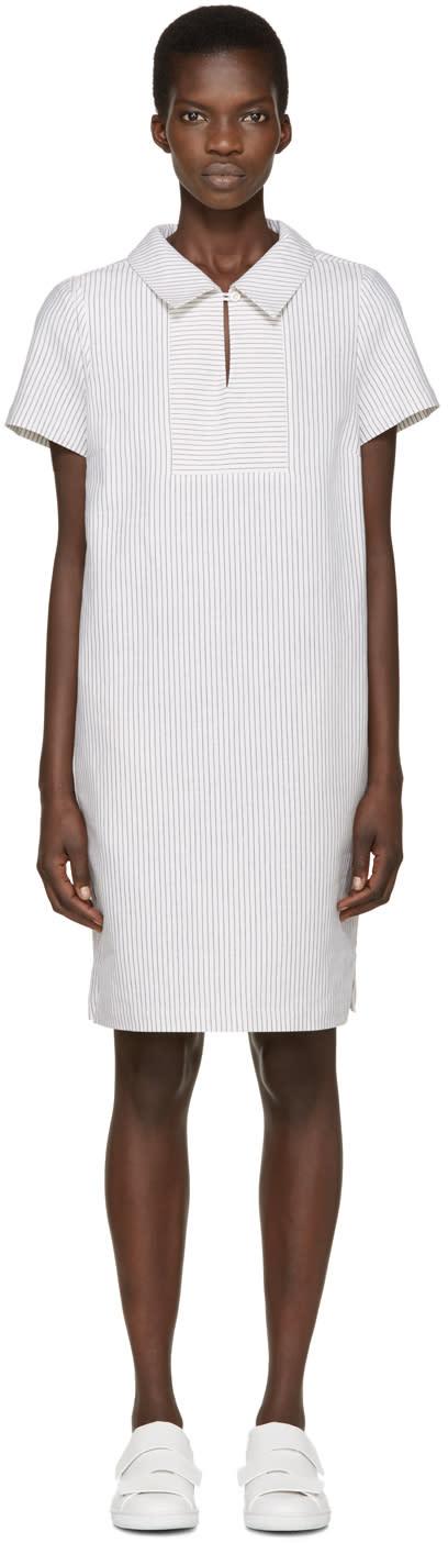 Ymc White Linen Pinstripe Dress