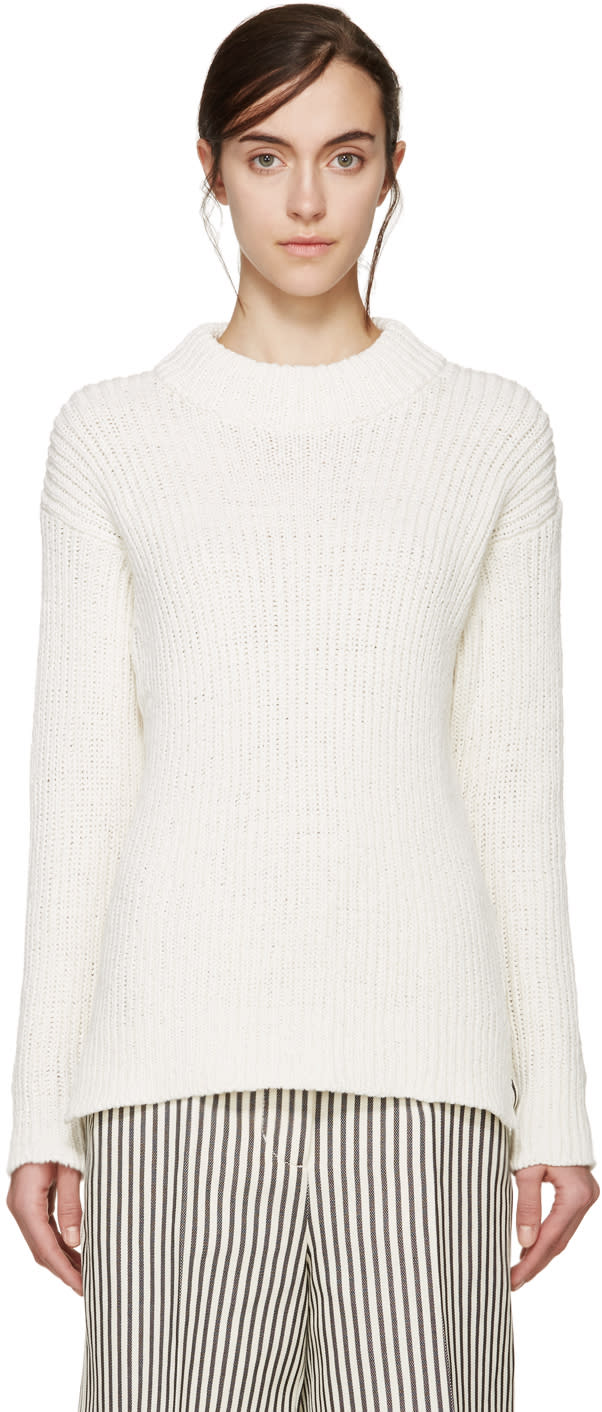Ymc Cream Cotton and Linen Knit Sweater