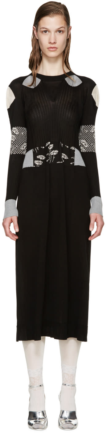 Maison Margiela Black Silk Jacquard Knit Dress