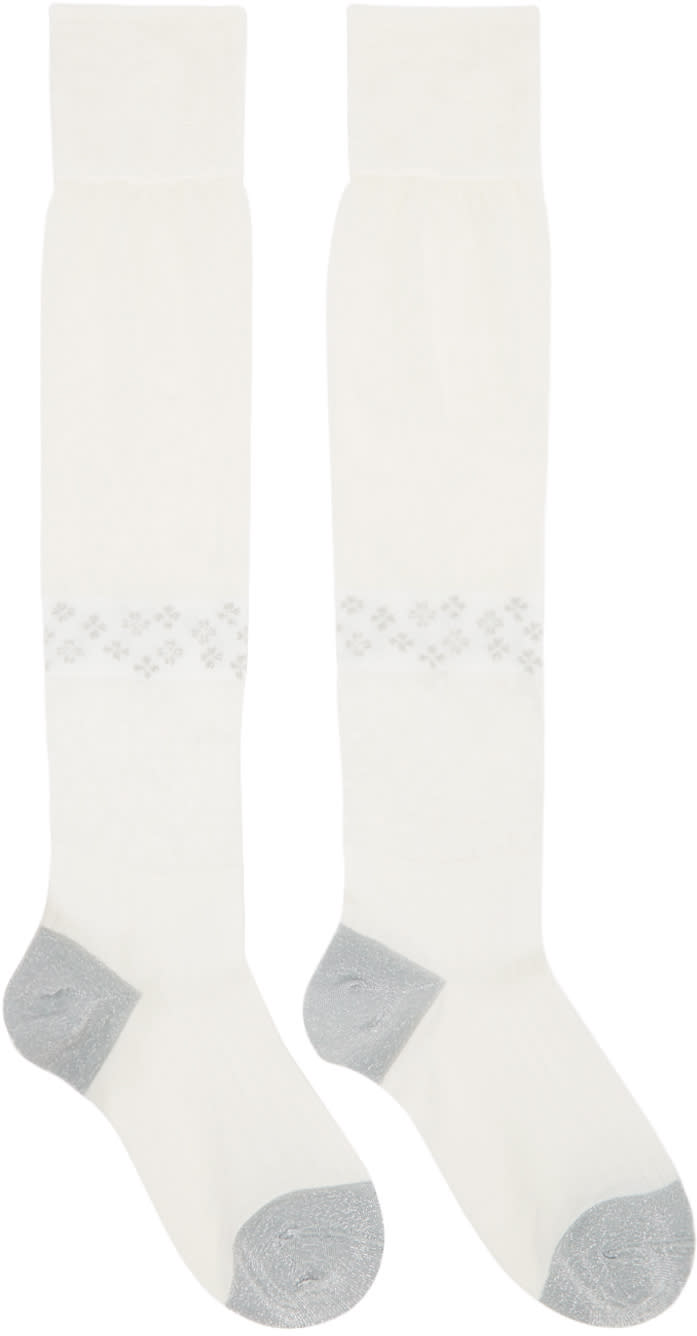 Maison Margiela Ivory Silk Knee-high Socks