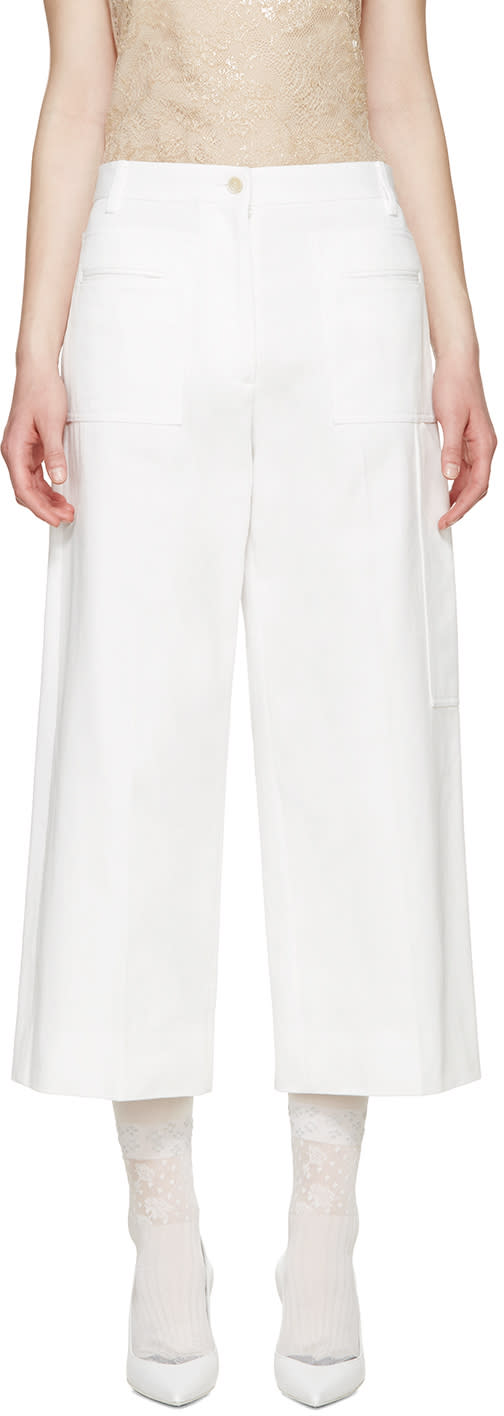 Maison Margiela White Cropped Wide Leg Trousers