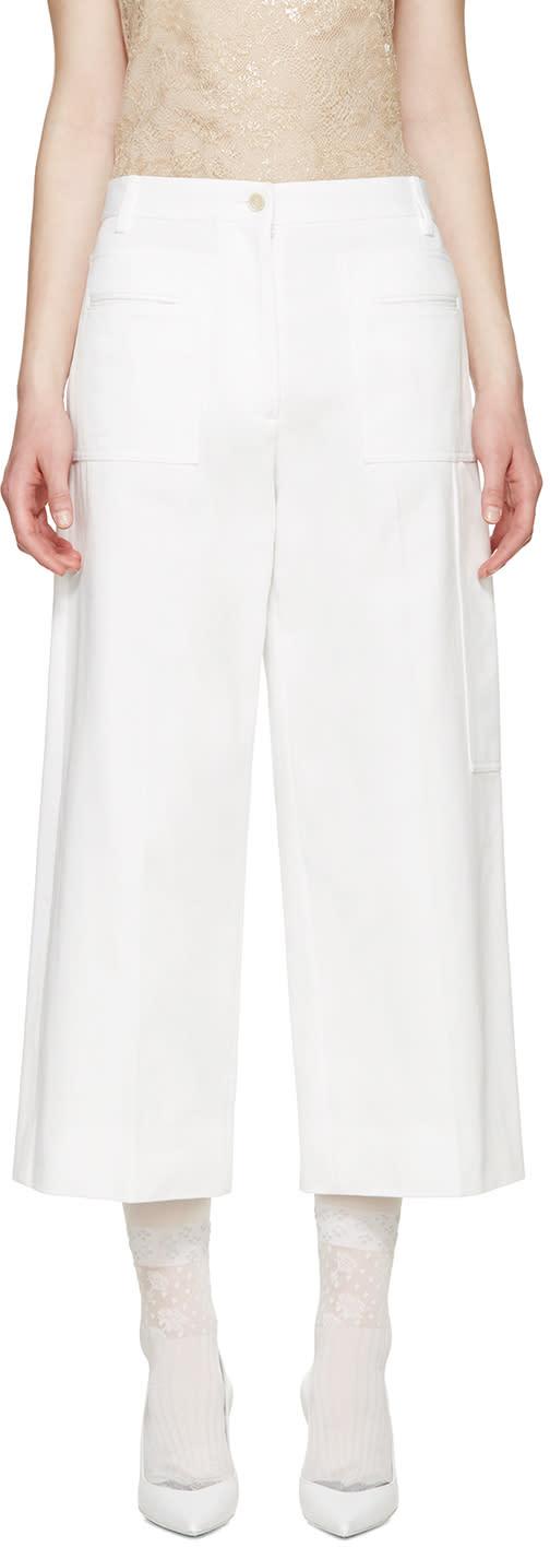 Maison Margiela White Cropped Wide Leg Trousers