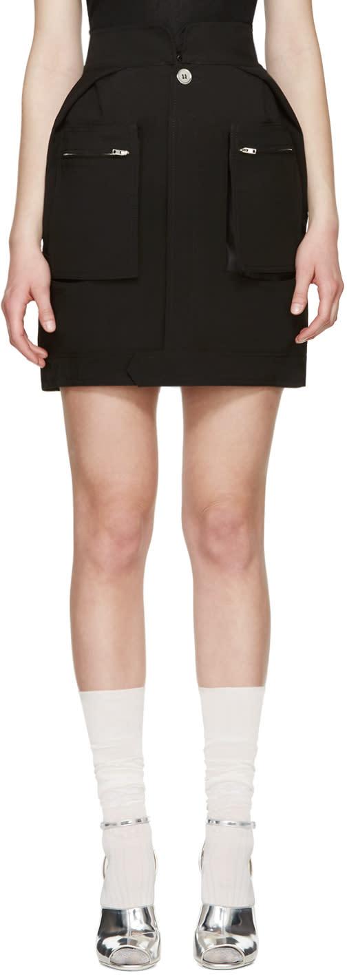 Maison Margiela Black Poplin Pocket Skirt