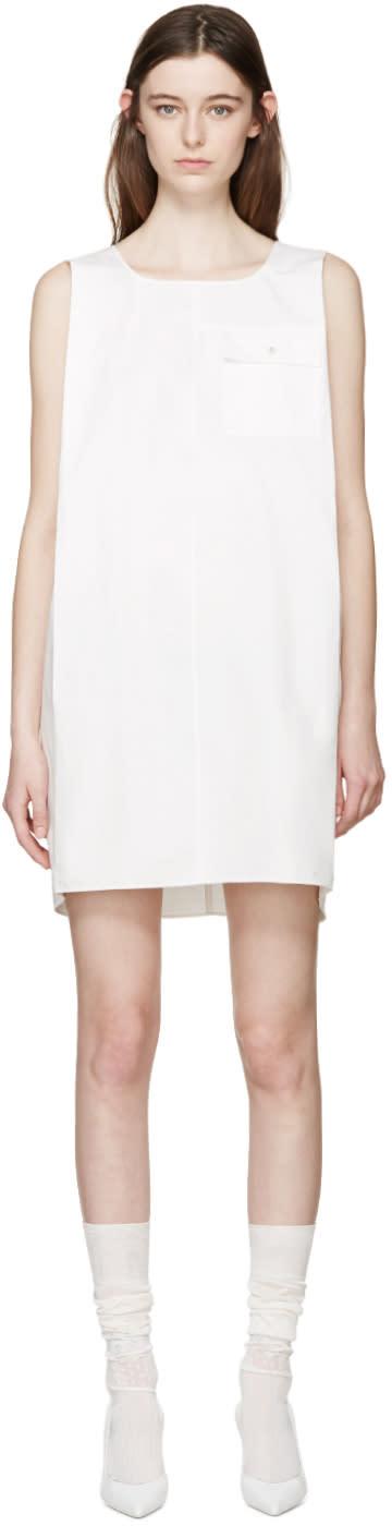 Maison Margiela White Cotton and Linen Pocket Dress