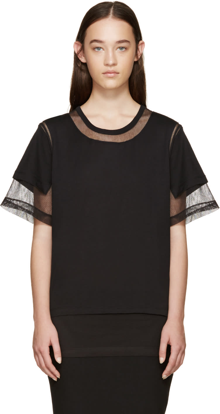 Maison Margiela Black Panelled Mesh T-shirt