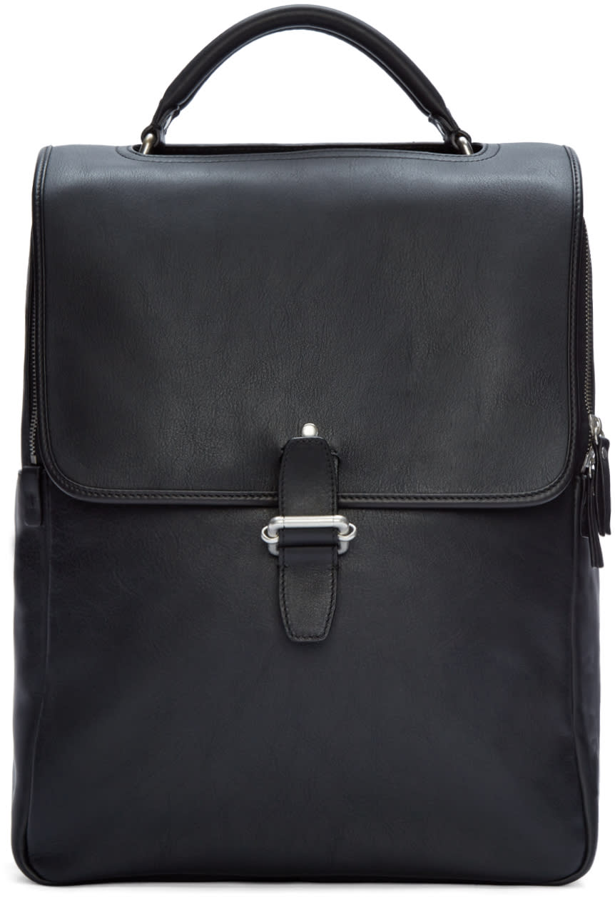 Maison Margiela Black Leather Buckle Backpack