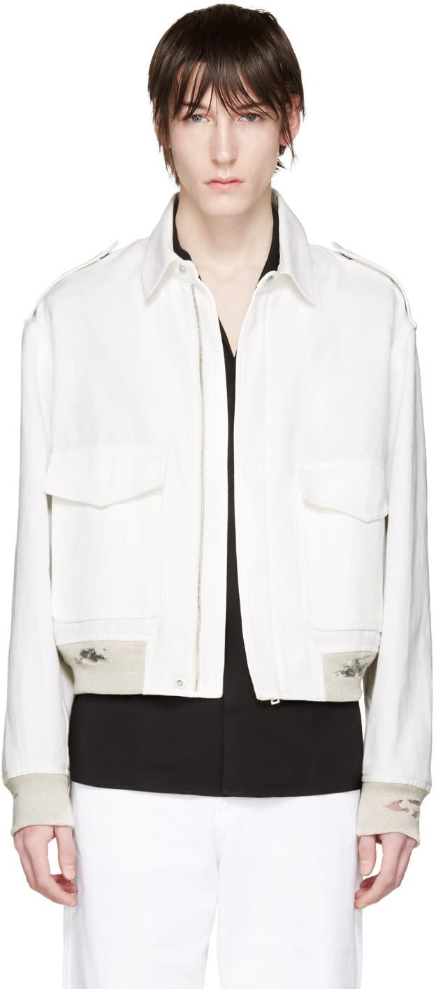 ホワイト ディストレスト リネン ジャケット