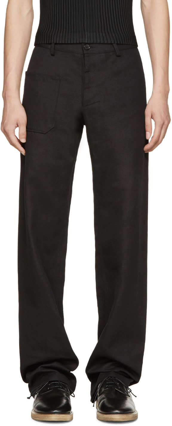 Black Cotton and Linen Trousers