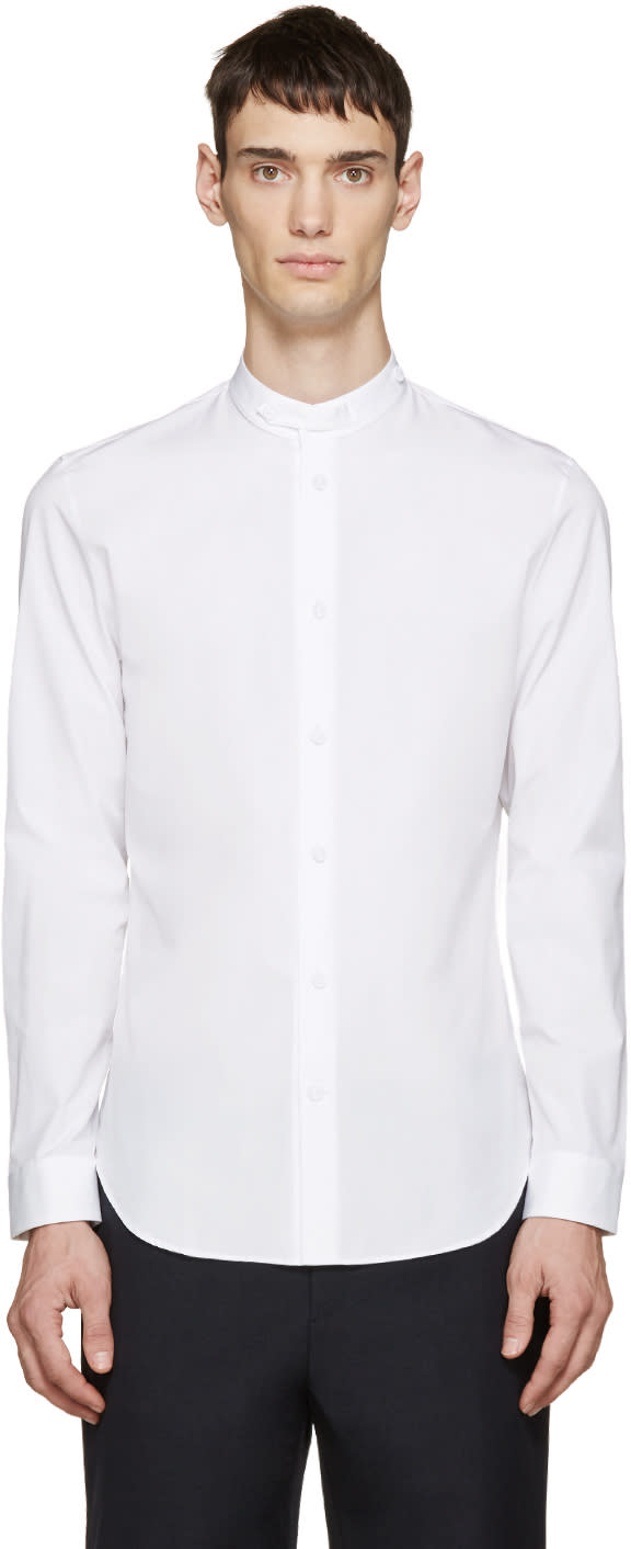 White Poplin Collared Shirt