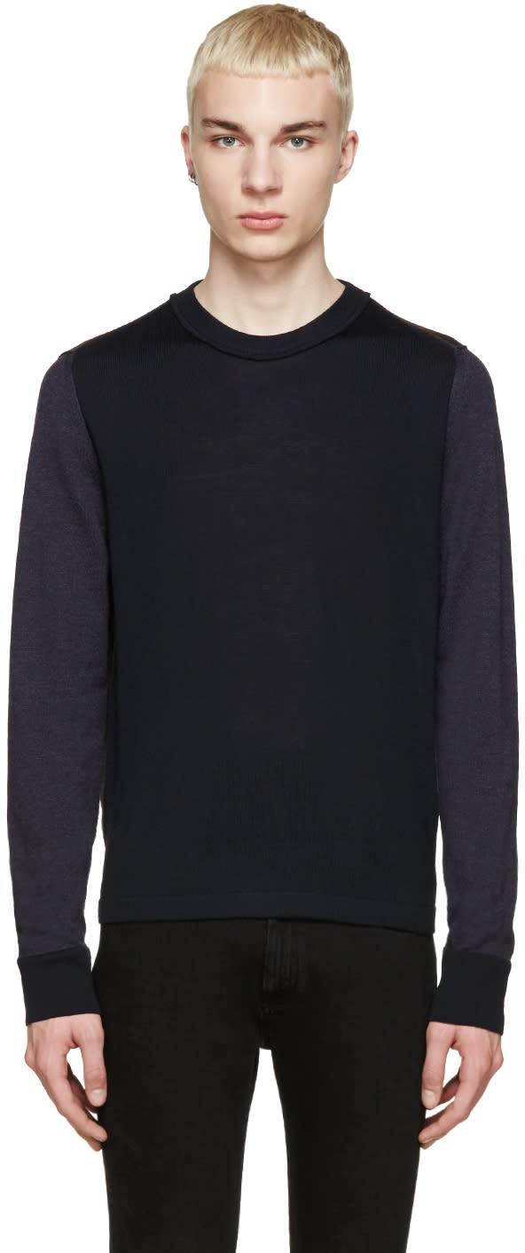 ネイビーandブラウンウールカラーブロックセーター