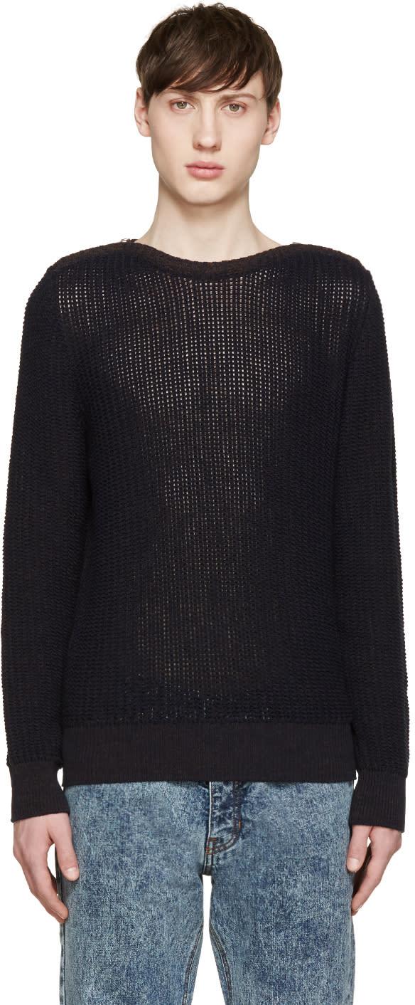 ネイビー ジッパー付き襟セーター