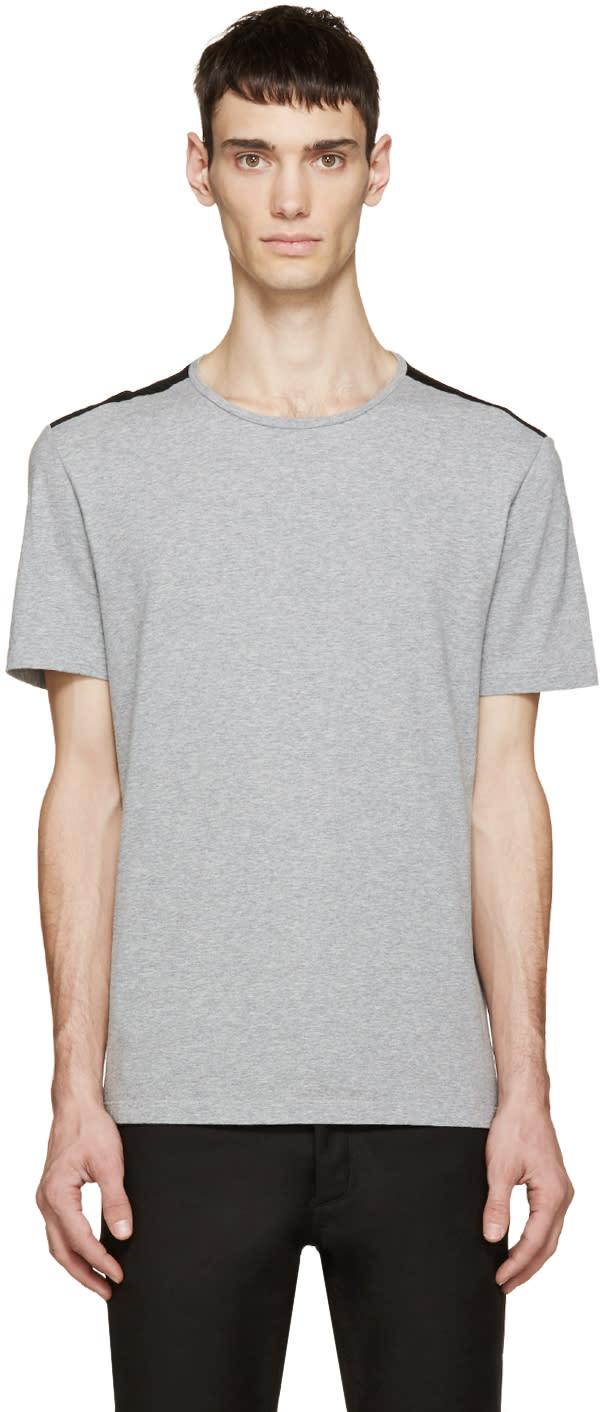 Maison Margiela Grey and Black Shoulder Panel T-shirt