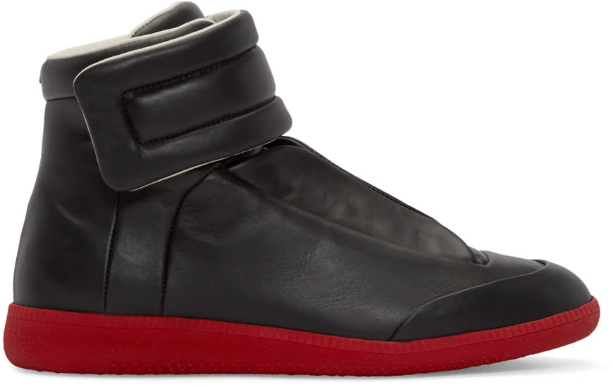 Maison Margiela Black and Red Leather Future High-top Sneakers