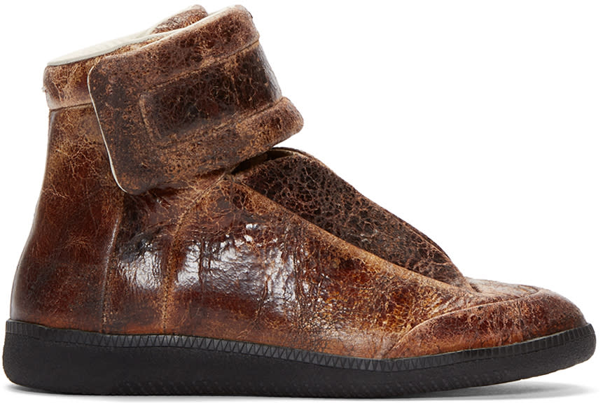 Maison Margiela Brown Brushed Leather Future Sneakers