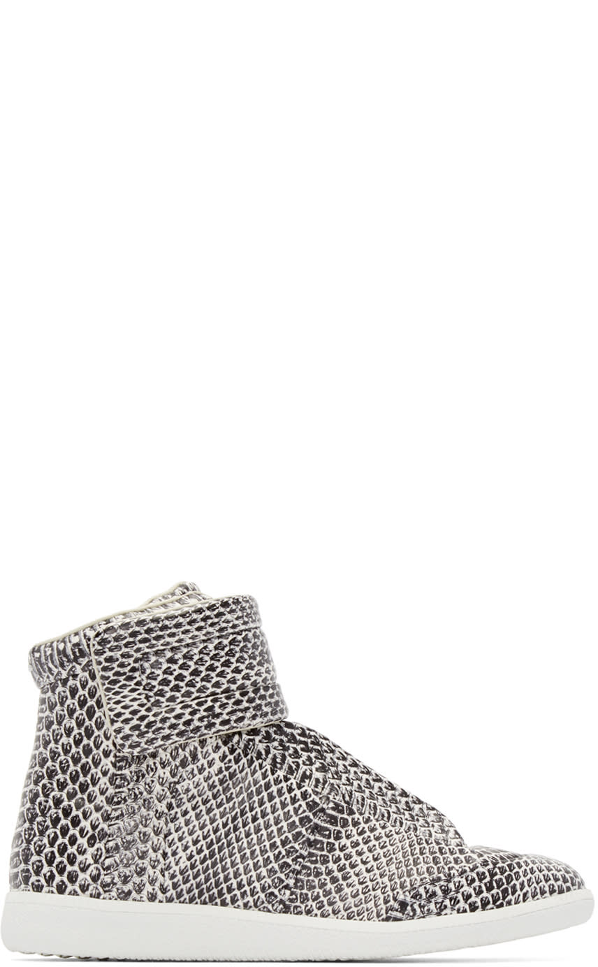 Maison Margiela Black and White Snakeskin Future High-top Sneakers