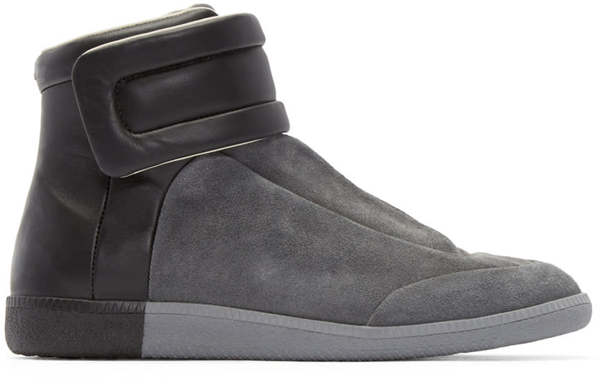 Maison Margiela Grey and Black Suede Future High-top Sneakers