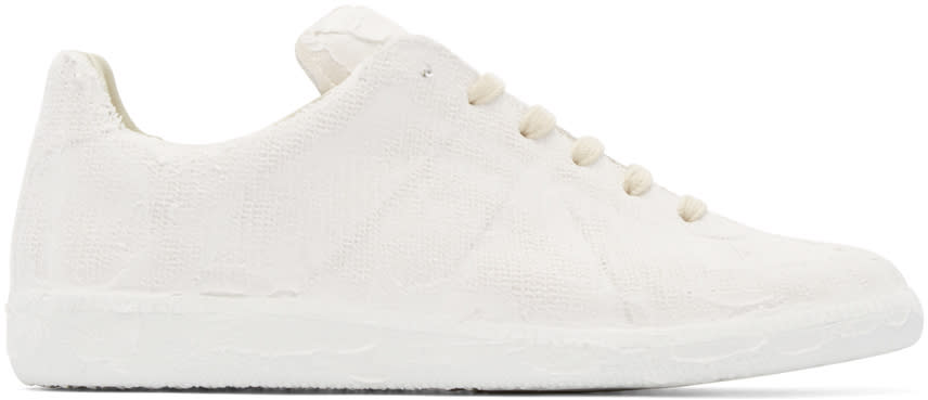 Maison Margiela White Chalk Effect Replica Sneakers