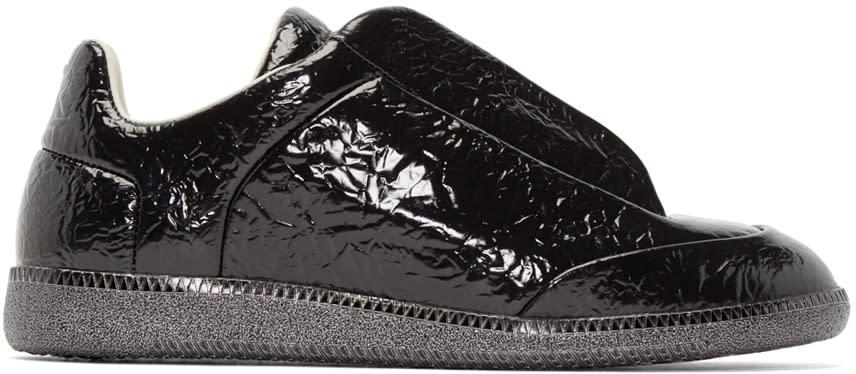 Maison Margiela Black Textured Leather Sneakers