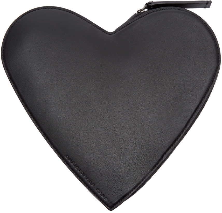 Christopher Kane Black Leather Heart-shaped Clutch