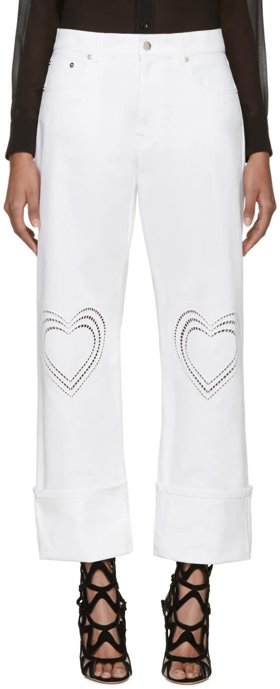 Christopher Kane White Heart Boyfriend Jeans