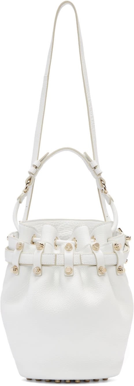 Alexander Wang White Pebbled Leather Small Diego Bucket Bag