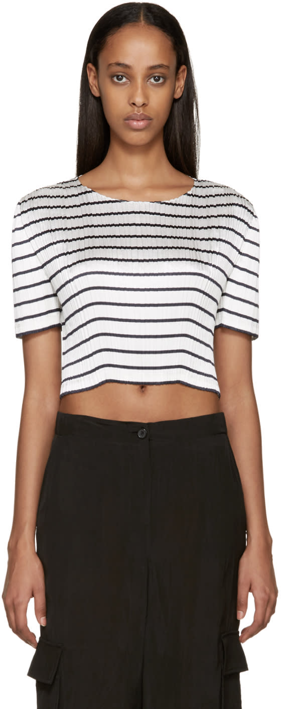 Alexander Wang White and Navy Pleated Blouse