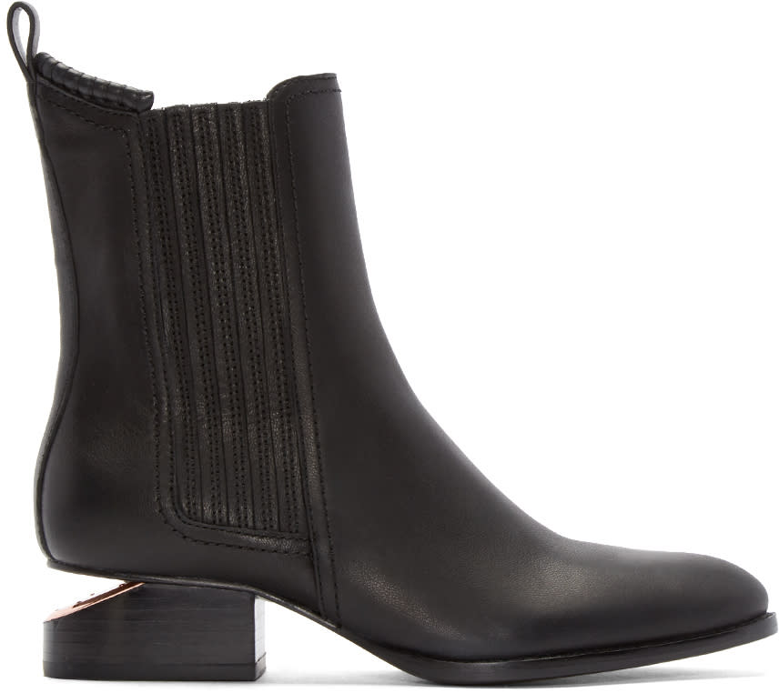 Alexander Wang Black Notched Heel Anouck Ankle Boots