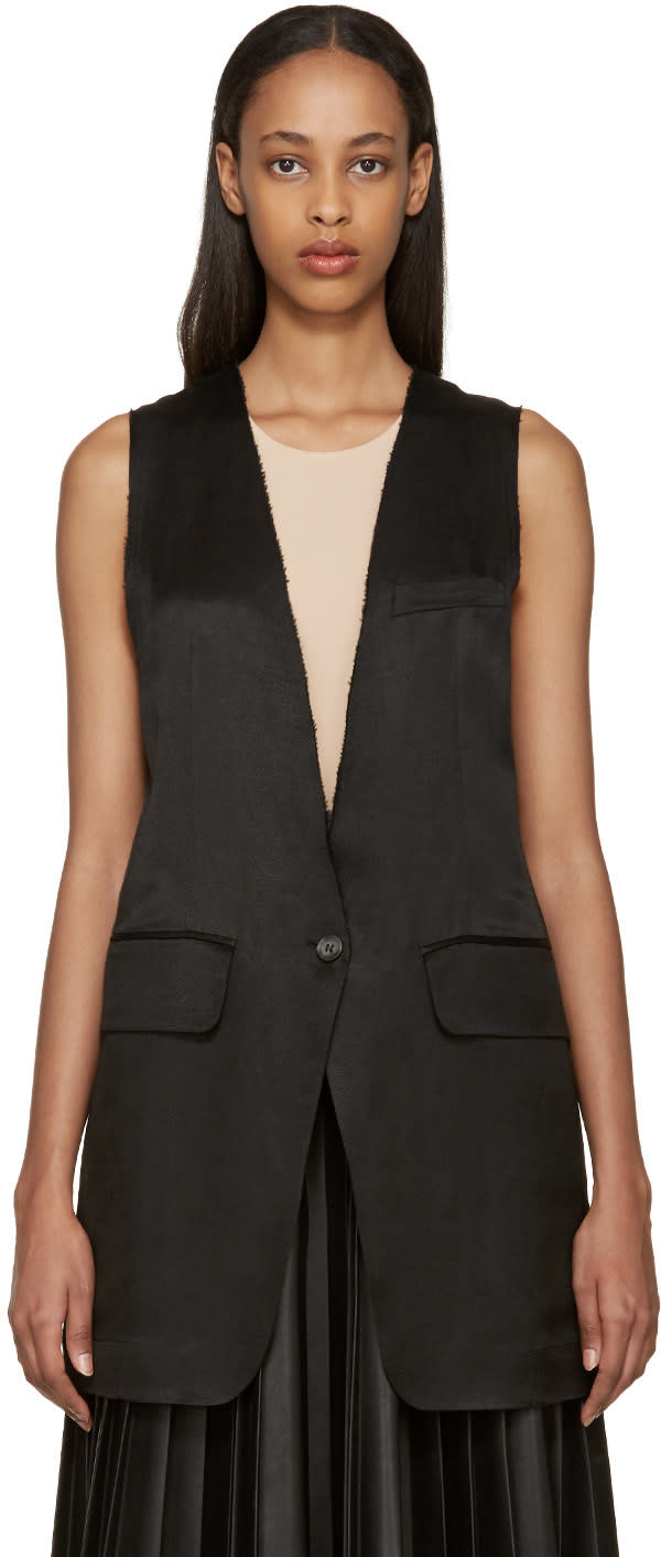 Mm6 Maison Margiela Black Linen Vest