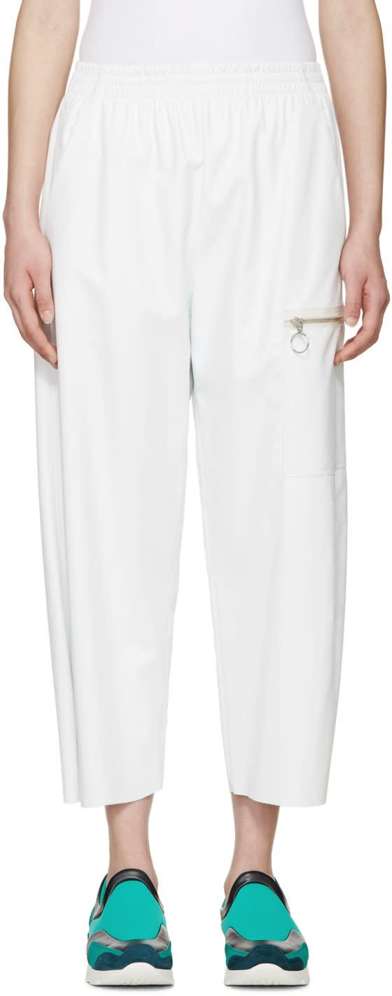 Mm6 Maison Margiela Off-white Faux Leather Pants