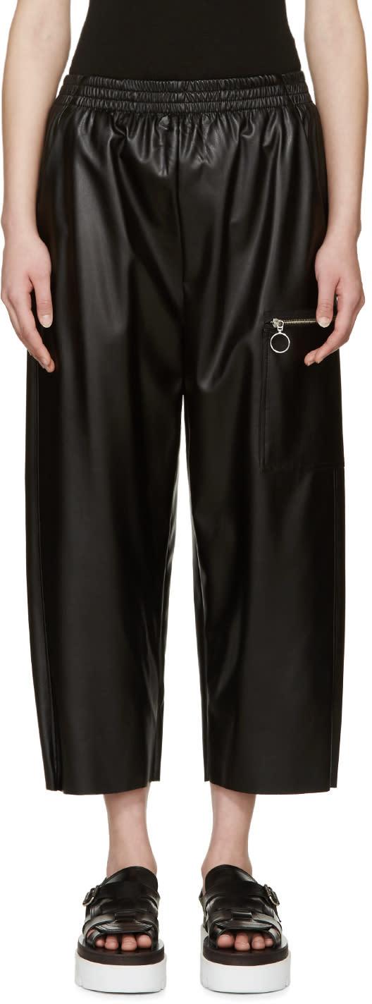 Mm6 Maison Margiela Black Faux Leather Pants