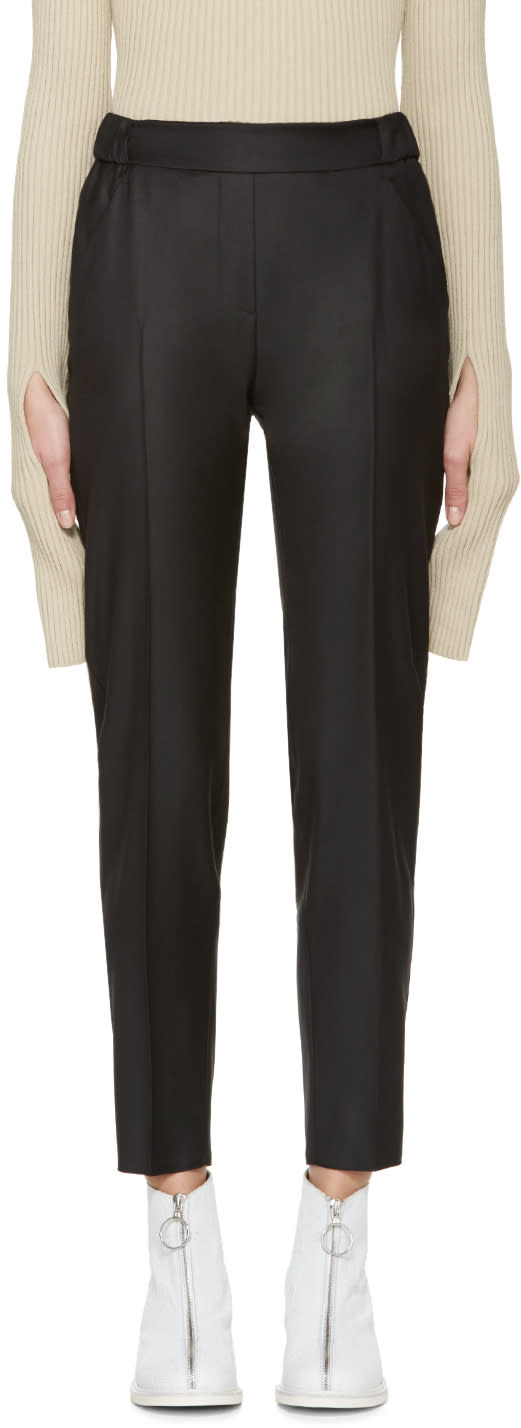 Mm6 Maison Margiela Black Wool Gabardine Trousers