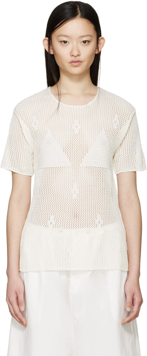 Mm6 Maison Margiela Cream Crochet T-shirt