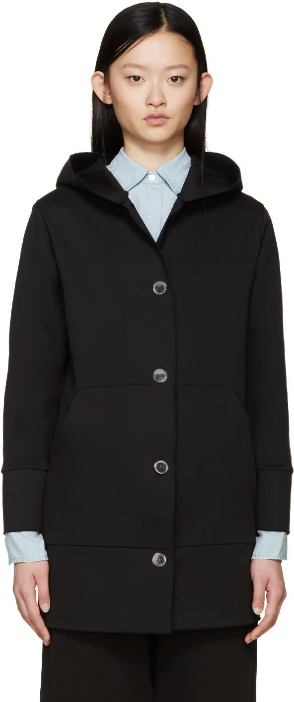 Mm6 Maison Margiela Black Buttoned Hoodie