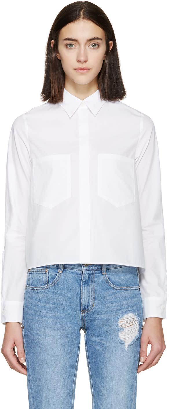 Mm6 Maison Margiela White Poplin Cropped Shirt