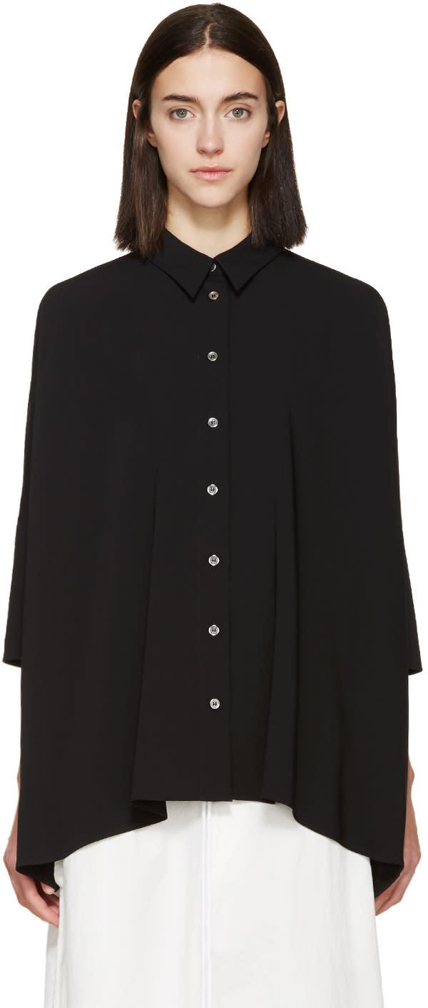 Mm6 Maison Margiela Black Draped Shirt