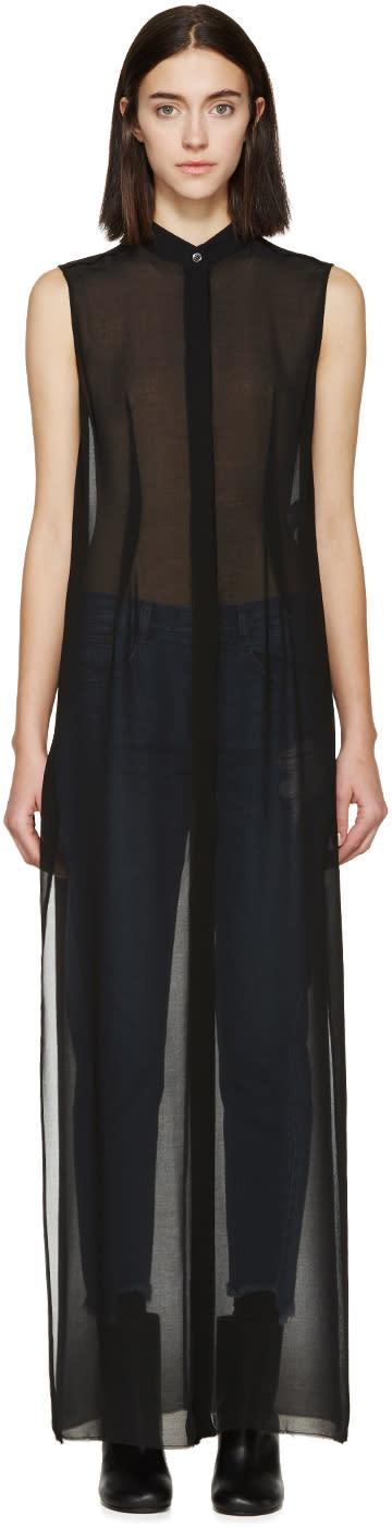Mm6 Maison Margiela Black Sleeveless Long Shirt