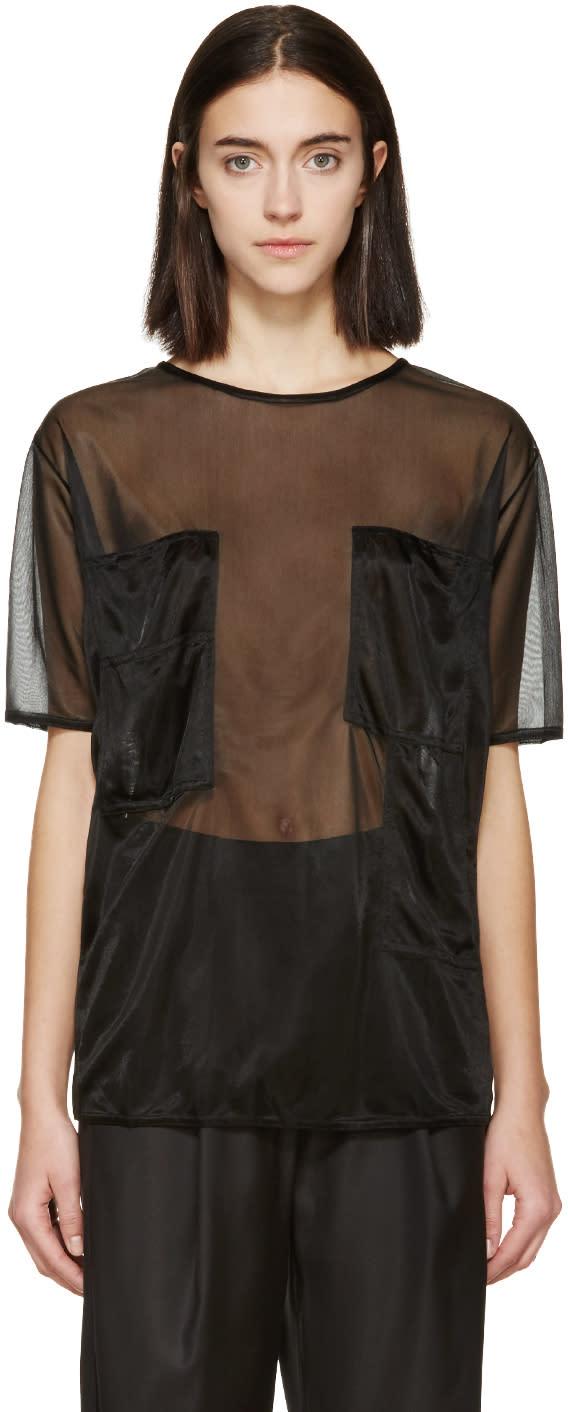 Mm6 Maison Margiela Black Sheer Pocket T-shirt